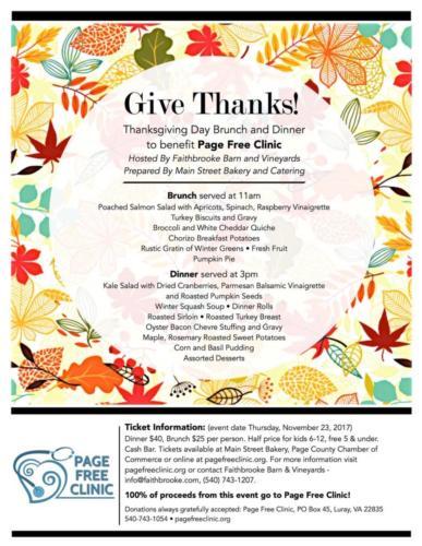 2017 Thanksgiving fundraiser flyer